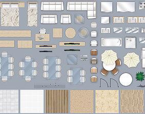3D model 2d furniture floorplan top down view style 4