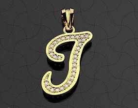 3D printable model J letter Pendant Diamonds pendant