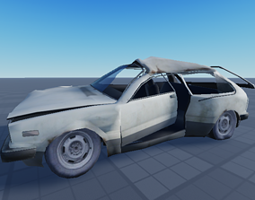 3D model rigged low-poly Destroyed Car