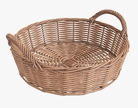 Wicker basket round with handle light brown 3D model