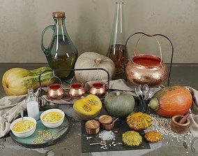 Decor set with pumpkins 3D table