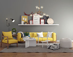 3D model Livingroom modern sofa set 2