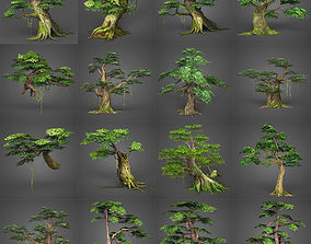 3D asset Game Ready Low Poly Tree Collection