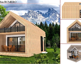 mountain cabin exterior 3d model low-poly