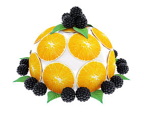 3D model food Cake with oranges and blackberries