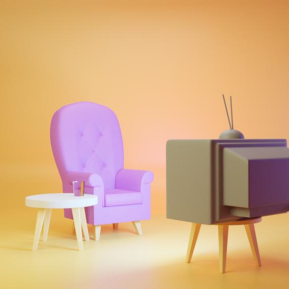 90s sofa &tv setup