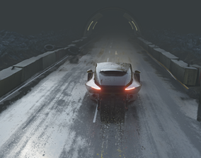 3D model Night road