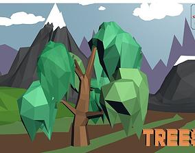 3D asset realtime Cartoon willow TREES