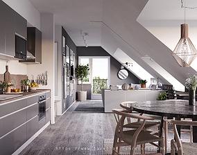 3D Scandinavian Attic Apartment Design