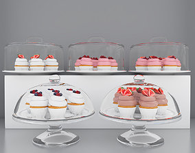 3D model candies Berry cupcakes