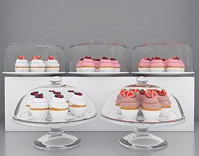 3D model Berry cupcakes