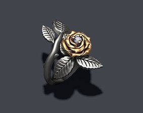 3D printable model Rose ring with gem