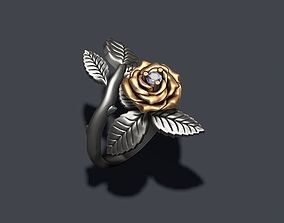 Rose ring with gem 3D print model