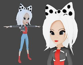 Cartoon girl rigged with a bow 3D model
