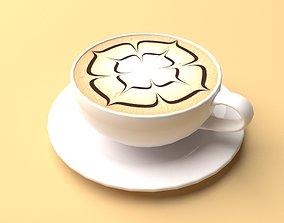 3D asset Mocha Coffee Espresso Cappuccino Low Poly