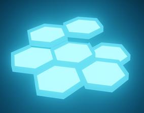 Lantern - Neon Blue 3D asset animated