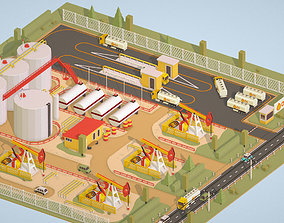 3D model Isometric Oil Field Extracting Crude Big Base