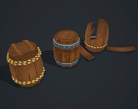 Barrels wooden 3D asset
