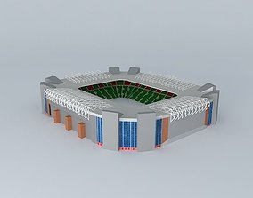 Ness Park Stadium with green stands 3D