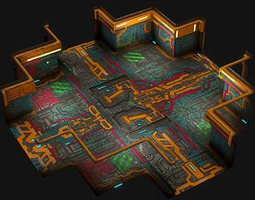 Low poly sci fi modular room environment part3 3D asset