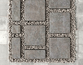 Paving old and pebble 3D