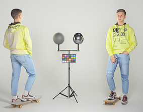 3D asset Young man in a neon hoodie on a skateboard 125