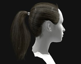 3D Hair Female Straight Ponytail Hairstyles low-poly