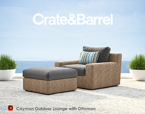 Cayman Outdoor Lounge with Ottoman 3D model