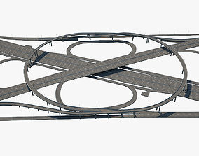 Highway Road Junction 3D model asphalt