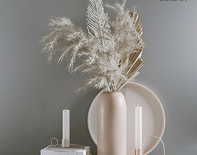 3D model Decorative set Pampas grass and tropical leaves