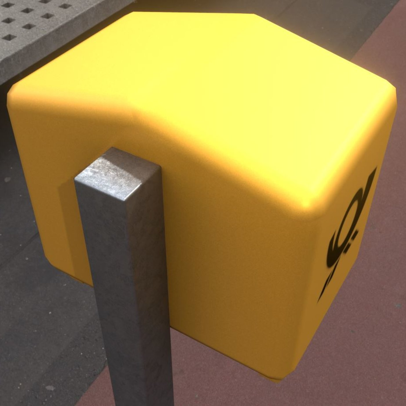 Public Mailbox 1 Low-Poly Re-Textured Version
