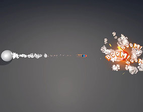 Cartoon Missile and Explosion VFX 3D model