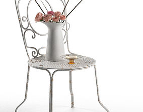 French provance composition of chair and rose 3D