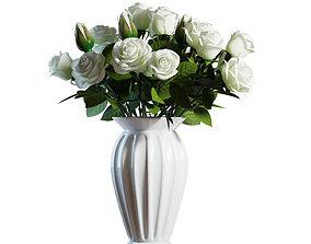 Flower Set 04 - White Roses Bouquet 3D model