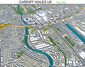 3D model Cardiff Wales United Kingdom 30km