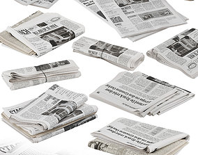 folded newspapers stack collection 3D model