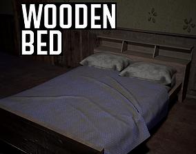 Wooden Bed 3D model realtime PBR
