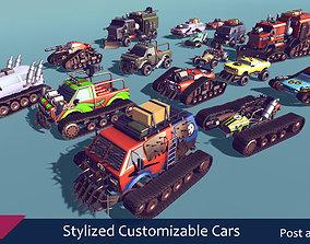3D model Stylized Customizable Cars post apo v4