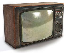 3D model game-ready Vintage tube soviet crt tv box