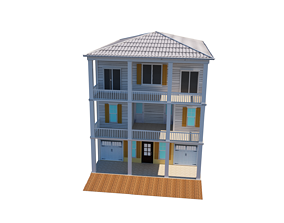3D model Low-poly wood house