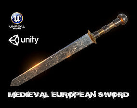 3D model Realistic Medieval Low Poly Sword