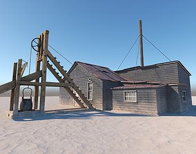 Western house with a well 3D asset