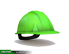 Worker Helmet Green Safety Helmet Lowpoly 3d VR / AR ready