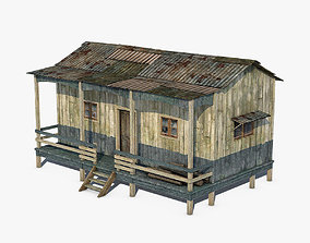 Wooden house 3D model game-ready