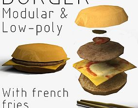 Modular Burger with French fries 3D asset