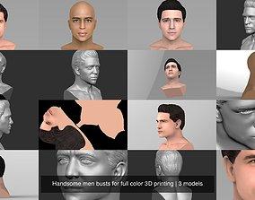 Handsome men busts for full color 3D printing