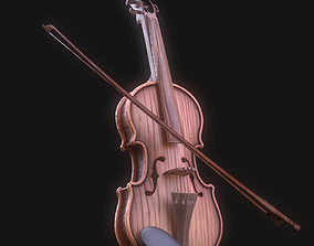 Stylized Wood Violin 3D model low-poly