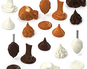 3D Chocolate Caramel Cream Whipped Splash Collection