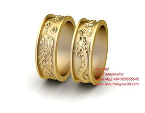 1682 Luxury Wedding Gold Ring 3D printable model