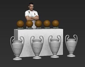 Cristiano Ronaldo with Throphies for full color 3D